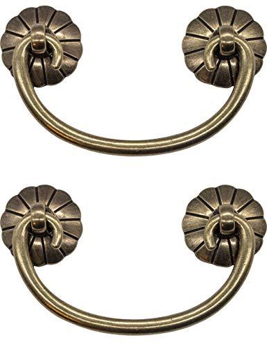 FUXXER® - 2x Antike Möbel-Griffe klappbar, Schubladen-Griffe, Schrank-Griffe, Klappgriffe für Truhen, Schränke, Kommoden, Antik Bronze Messing Design, 95 x 41 mm, 2er Set