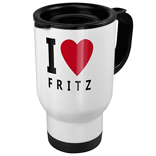 printplanet Thermobecher weiß mit Namen Fritz - Motiv I Love - Coffee to Go Becher, Thermo-Tasse