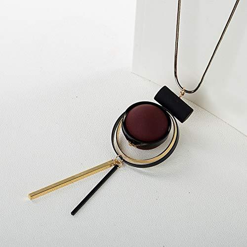 VCX geometrische hout handgemaakte vintage kwast lange trui ketting ketting mode vrouwen sieraden accessoires