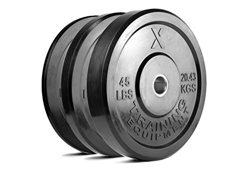 X Training Equipment Premium Black Bumper Plate Solid Rubber with Steel Insert - Great for Crosstraining Workouts (Set: 160lb)