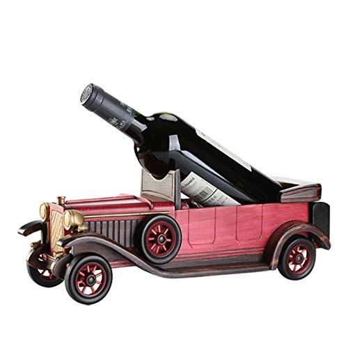 KUKU Estante para Vinos Creativo, Estante para Vinos De Madera para Autos Antiguos, Estante De Exhibición De Muebles Creativos, Utilizado para La Cocina del Bar En Casa,Wine Red