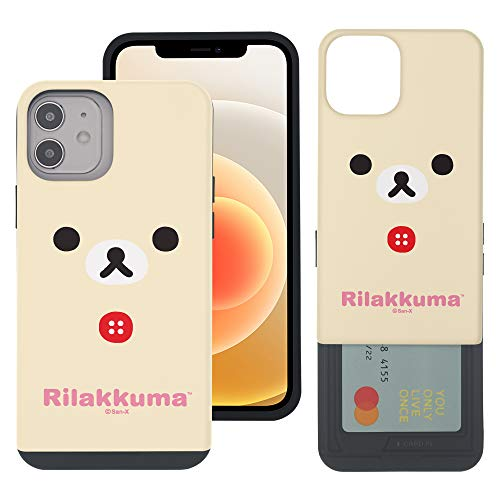 Compatible with iPhone 12 Pro Max Case (6.7inch) Rilakkuma Slim Slider Card Slot Dual Layer Holder Bumper Cover - Face Korilakkuma
