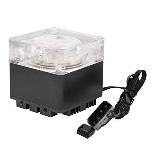 Richer-R Computer Wasserpumpe, Ultra Silent Wasserkühlung Pumpe 3000 RPM Schnelle Wärmeableitung,800L / H Durchfluss 3,5 Meter Pumpenkopf Water Cooling Pump Tank für PC Wasserkühlung(Schwarz)