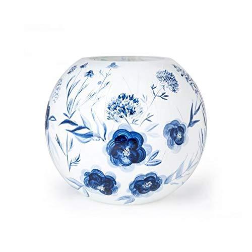 Design Vaas Delfts Blauw - Fidrio - gekleurd glas sculptuur - delfts blauw - handgeschilderd - 22 cm hoog