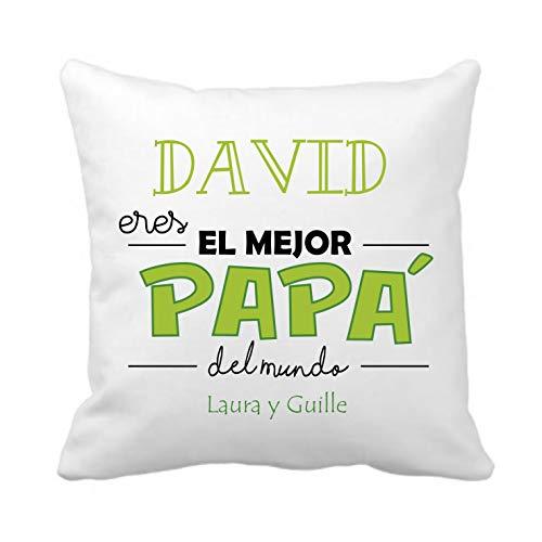 Kembilove Cojín Personalizado Eres el Mejor Papá del Mundo en Verde – Cojines Decorativos Personalizados con Bonitos Mensajes para Padre – Ultra Suaves y Cómodos Papá