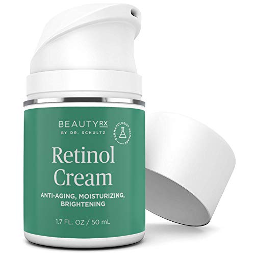 41gTE9OYcjL - BeautyRx by Dr. Schultz Retinol Cream Moisturizer 2.5% for Face & Eyes for Wrinkle, Fine Lines & Dark Spots w/ Hyaluronic Acid & Vitamin A. Best Night & Day Anti-Aging Treatment for Women & Men 1.7 oz