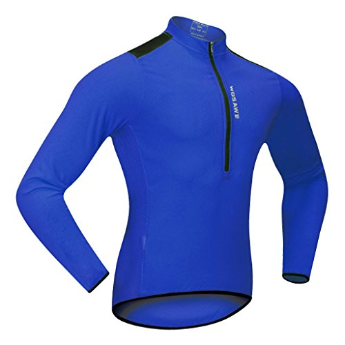 Sharplace Unisexe Maillot Veste à Manche Longues de Vélo/Cyclisme/Course Chemise avec 3 Poches à Arrière - XL, Blue