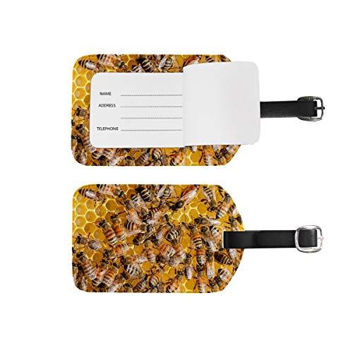 Etiquetas de equipaje para nombre de dirección, 2 unidades de etiquetas de identificación portátil para tarjetas de decoración, accesorios de viaje para maletas, bolsas, abejas amarillas