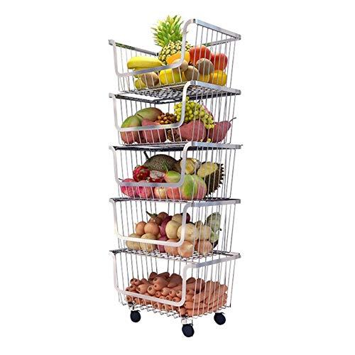 Chariot Cuisine Chariots de Service Stockage Chariot sur roulettes métalliques Panier de rangement en acier inoxydable avec roues Cuisine légumes verrouillables Fruit Basket rack