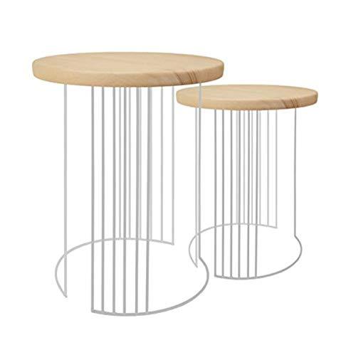 Tosel Elisa, Tables gigogne Filaire, Bois, Aluminium, 40 x 40 x 44 cm