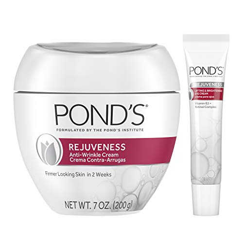 Pond's Anti-Wrinkle Cream and Eye Cream Anti-Aging Face Moisturizer Rejuveness Eye Wrinkle Cream With Vitamin B3 and Retinol Complex 2 Count