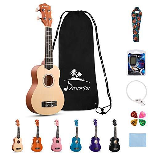 Donner DUS-10M Sopran Ukulelen Hawaii Gitarre für Kinder, Konzert Ukulele Bündel der Rainbow Serie mit Tasche Riemen Saiten Stimmgerät Picks Poliertuch 21 Zoll (Mahagoni)
