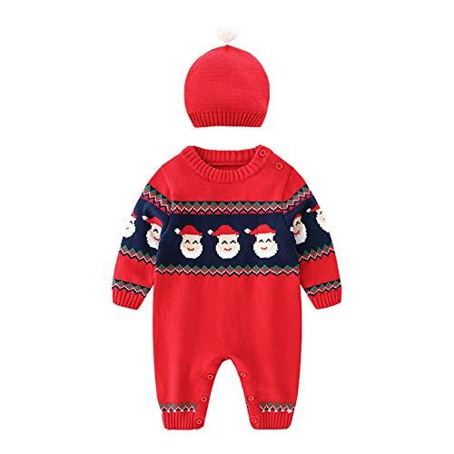 Kinderbekleidung Weihnachtskleidung Neugeborene Weihnachten Overall Red Festlichen Satz Weihnachtsmann-GüRtel Puppenkleidung Jungen MäDchen 2Pcs Set