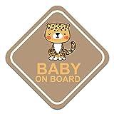 Pegatina para coche con diseño de bebé sobre borde, 10 x 10 cm, autoadhesiva, resistente a la intemperie, R127 (n.º 1 leopardo)