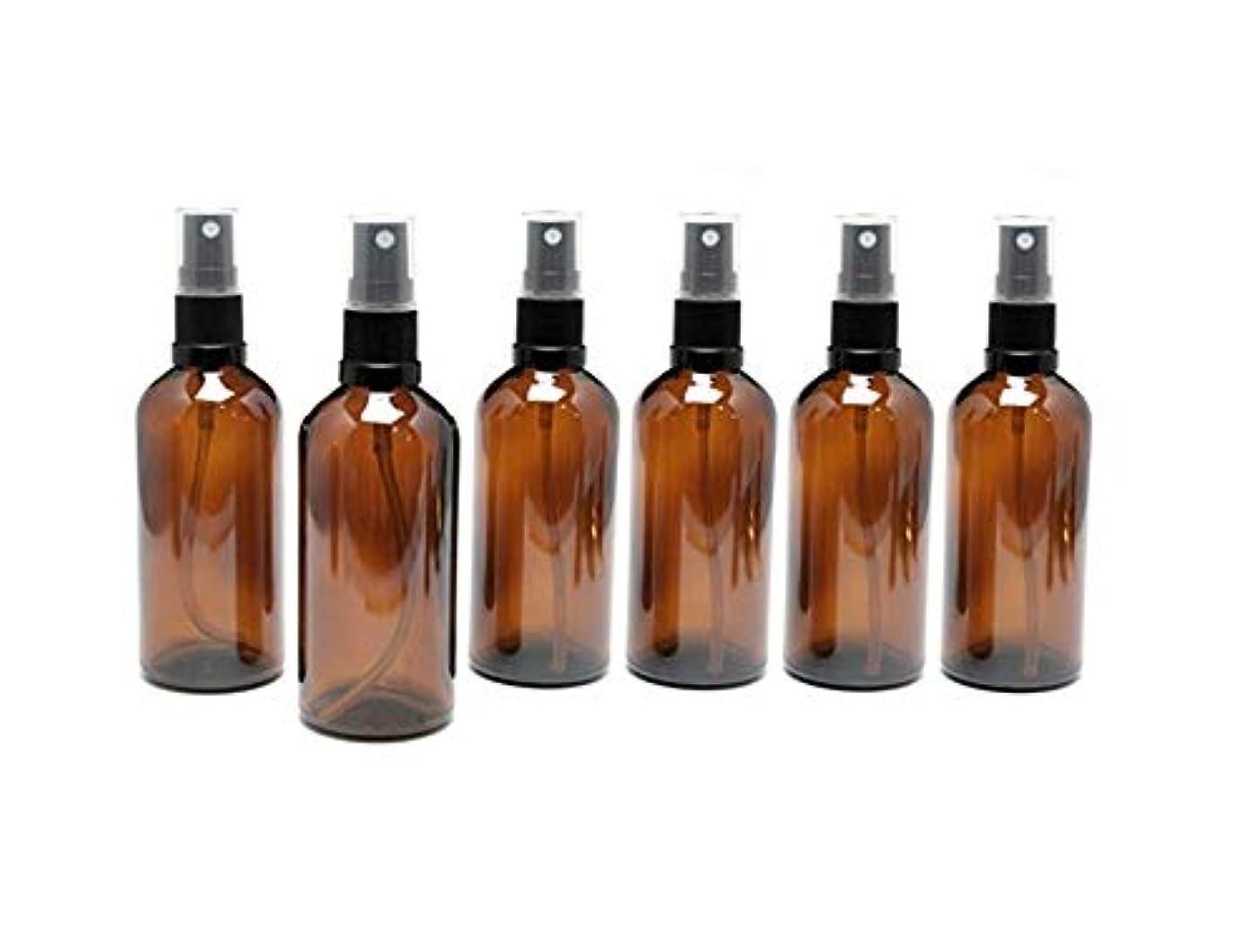 アッティカス乳剤規模遮光瓶 スプレーボトル 100ml アンバー/ブラックヘッド(グラス/アトマイザー) 【新品アウトレット商品 】 (2) 6本セット