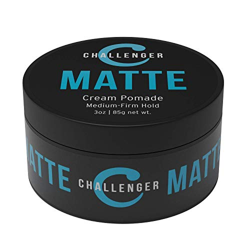 Challenger Men's Matte Cream Pomade, 3 Ounce   Natural Finish, Clean & Subtle Scent   Medium Firm Hold   Water Based & Travel Friendly. Hair Wax, Fiber, Clay, Paste All In One
