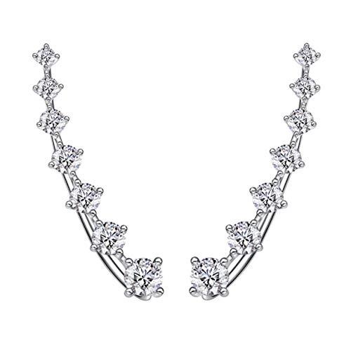 Iszie Jewelry - Brazalete redondo de plata de ley con cristales de cristal, pendientes largos con circonita cúbica, escalador de oreja de cristal