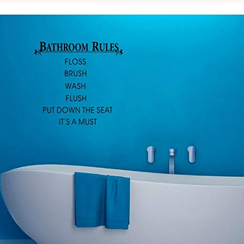 HUAIyinSTOAM Bathroom Rules Put Down The Seat Quotes Wall Stickers Waterproof Art Decoration 4239cm Black