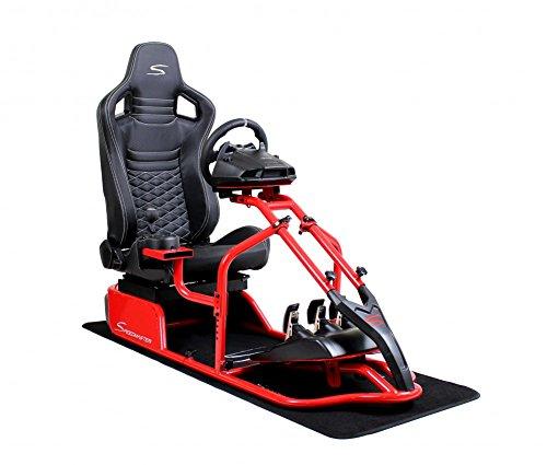 Speedmaster Pro Rojo - Óptica de fibra de carbono Negro- Asiento de carreras - PS4 XBOX - Simracing