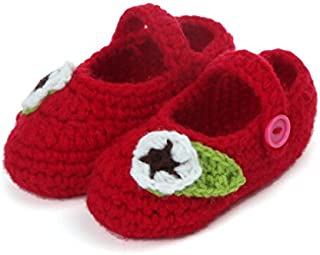 Button Up Dark Red Crochet Shoes with Leafy Flower