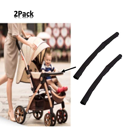 2Pcs Baby Pushchair Handlebar Cover, Universal Stroller Handle Sleeve Cover, Replacement Cover Carriages Handle Protector, PU Leather (5 Colors) (Black)