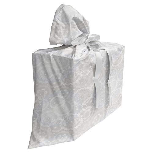 ABAKUHAUS Pearls Baby Shower Geschänksverpackung aus Stoff, Romantische Brautspitze, 3x Bändern Wiederbenutzbar, 70 x 80 cm, Grau weiß
