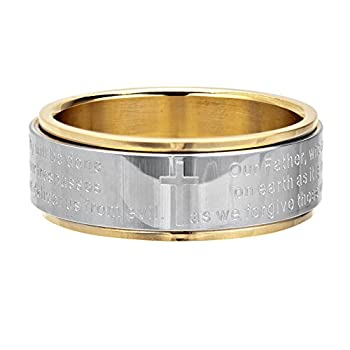Inox Jewelry Womens Stainless Steel Lord s Prayer Spinner Ring  Size 12