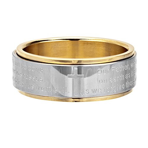 Inox Jewelry Womens Stainless Steel Lord's Prayer Spinner Ring (Size 9)