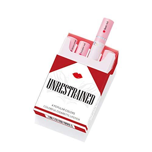 GOKOMO Lippenstift Matte Set Zigarette Lippenstift Pack Set 4 Farben Lippenstift langlebig wasserdicht(D)