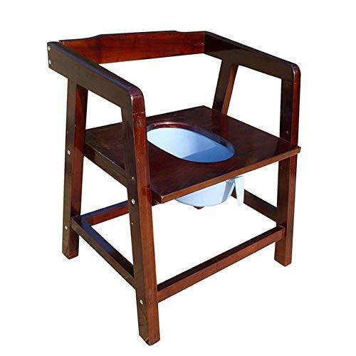 MY1MEY Commode Chairs Tragbarer Toilettenstuhl Umweltfreundlicher, Rutschfester Toilettenstuhl aus Holz mit Rückenlehne und Armlehnen, höhenverstellbar, Traglast -150 kg