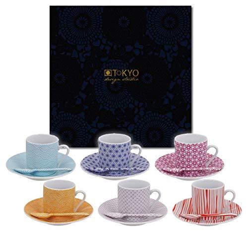 TOKYO design studio Star Wave Espresso-Set bunt, 18-TLG, 6X Espresso-Tassen mit Untertassen und Löffeln, asiatisches Porzellan, Japanisches Design, inkl. Geschenk-Verpackung