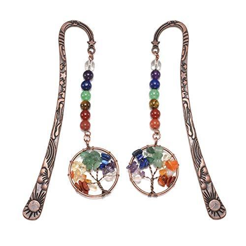 Jovivi - Segnalibri vintage in bronzo a forma di stelle, luna, sole, 7 chakra, albero della vita avvolto in fil di ferro, per donne e uomini, confezione da 1 – 10, 2pc Tree of life