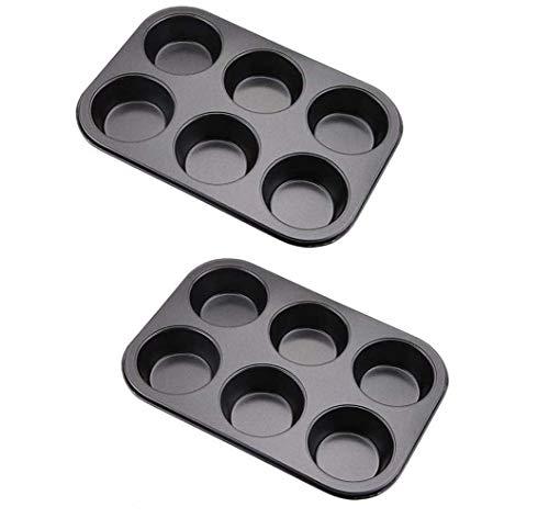 Tebery Muffinform 6er, 2 Stück Backblech antihaft für Muffins, Muffin Backform mit Wärmeleitung (Kuchenform ca.: Ø 6,5 cm)
