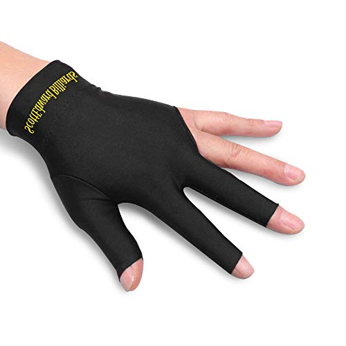 Scott Edward 10pcs per Pack, 3 Fingers Billiard Gloves Pool Cue Gloves Spandex Lycra for Left Hand Men/Women, Black