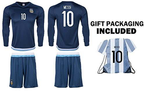 JerzeHero Argentina Messi #10 Kids Youth Soccer Gift Set ? Soccer Jersey ? Shorts ? Jersey Drawstring Bag ? Home or Away ? Short Sleeve or Long Sleeve (YL 10-13 yrs, Away Long Sleeve)