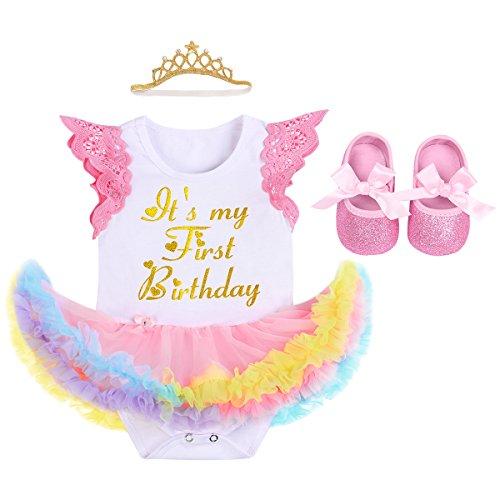 Fymnsi Baby-Outfit für Neugeborene, Mädchen, mit Spitze, Fliegenärmel, Prinzessinnen-Tutu, Regenbogen-Tüll-Strampler, Kleid + Krone, Stirnband + Schuhe, 3 Stück Gr. 6-12 Monate, Q~ Weiß