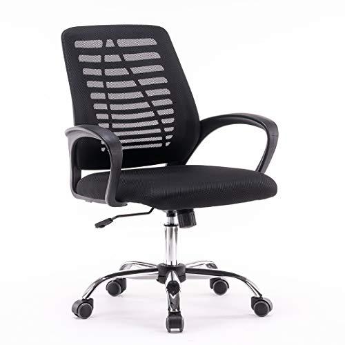 Loywe Bürostuhl Schreibtischstuhl, ergonomischer Drehstuhl mit Netzrücken, Wippfunktion Feste Armlehne höhenverstellbar, Schwaz Chefsessel mit Mesh Netz,B017S