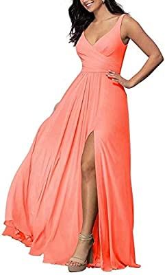 RYANTH Women's Coral Bridesmaid Dresses Long for Wedding Plus Size V Neck Slit Formal Chiffon for Evening Size 8