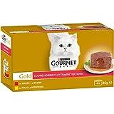 Purina Gourmet Gold Umido Gatto Cuore Morbido con Manzo, Pollo, 48 Lattine da 85 g Ciascuna, 12 Confezioni da 4 x 85 g