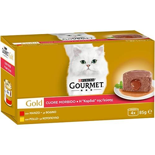 PURINA GOURMET GOLD Umido Gatto Cuore Morbido con Manzo, Pollo - 48 lattine da 85g ciascuna (12 confezioni da 4x85g)