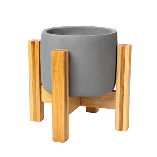 Inspella - Concrete Planter 4 Inch Plant Pot with mid Century Plant Stand Succulent Planter with Drainage Hole.