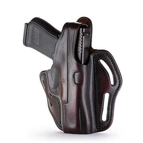 1791 GUNLEATHER XDS Thumb Break Holster - Right Handed OWB Leather Gun Holster - Fits Glock 17, 19, Ruger SR9, SR22, Sig Sauer P225, Springfield XDS, SW Shield MP9 MP40, Walther CCP, Taurus G2 - Brown