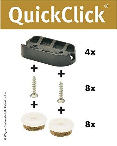WAGNER QuickClick® Stuhlgleiter I 4er-Set zum Anschrauben, für Freischwinger I - ULTRASOFT - 42 x 20 mm - 15831300