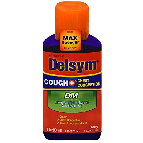 Max Strength Delsym Cough Plus Chest Congestion DM Liquid, Cherry Flavor, 6 fl. oz.