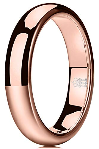 THREE KEYS JEWELRY Womens Charming Jewelry 4mm Rose Gold Tungsten Polished Wedding Carbide Ring Band for Women Engagement Size 8