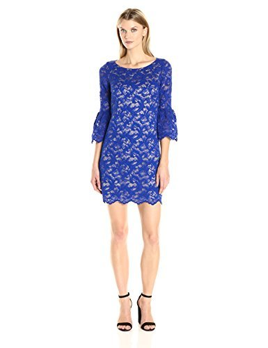 Eliza J Women's Lace Shift Dress with Bell Sleeves, Cobalt, 14