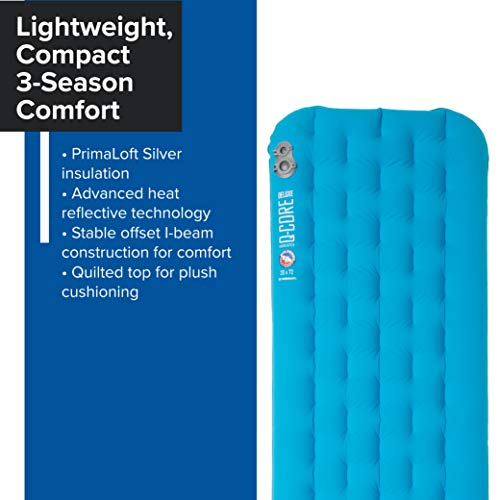 Big Agnes Insulated Q-Core Deluxe Sleeping Pad for Backpacking and Camping, Wide Long(25x78)