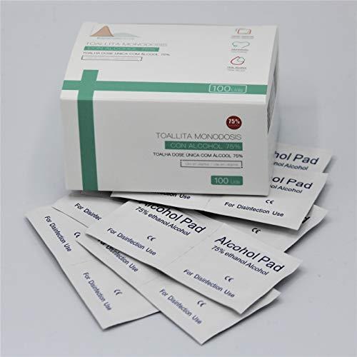 Toallitas desinfectantes con alcohol etílico (75%). Caja de 100 unidades toallitas envasadas individualmente. Tamaño toallita: 6 * 6 cm. Limpian y desinfectan cualquier superficie.