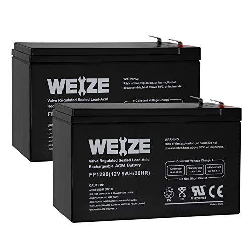 Weize 12V 9AH Rechargeable SLA Battery for Razor e200 / e200s / e225 / e300,APC UPS Computer Backup Power (BX1300LCD), APC Back-UPS NS 1250, 2 Pack