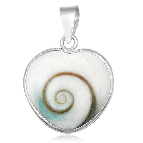 EYS JEWELRY® Damen-Anhänger Herz Liebe 21 x 16 mm Shiva Auge Muschel 925 Sterling Silber weiß im Etui Damenanhänger